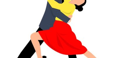 Przedstawia tańczącą parę
