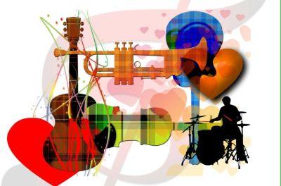 Kolorowe instrumenty, takie jak: gitara, skrzypce, trąbka, perkusja