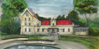 Obraz ukazujący michałkowicki Zameczek oraz fontannę, która stanowi pierwszy plan obrazu.