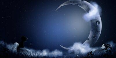 Na tle gwieździstego nieba duży księżyc w nowiu. Na pierwszym planie czarny kotek patrzący w gwiazdy.