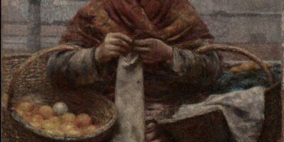 """Obraz Aleksandra Gierymskiego pt. """"Pomarańczarka"""", będący w zbiorach Muzeum Śląskiego w Katowicach. Przedstawia kobietę trzymającą w ręce koszyk z pomarańczami"""