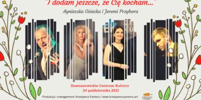 Na plakacie artyści biorący udział w koncercie. Każdy w osobnym okienku, ubrani w stroje wieczorowe.