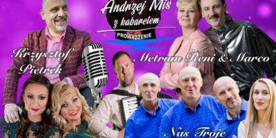 Na fioletowym tle sylwetki artystów, którzy występują podczas koncertu Szlagierowo i z humorem