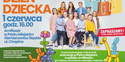 Kolorowy afisz reklamujący imprezę z okazji Dnia dziecka. Oprócz informacji o programie zdjęcie dzieci z zespołu Małe TGD