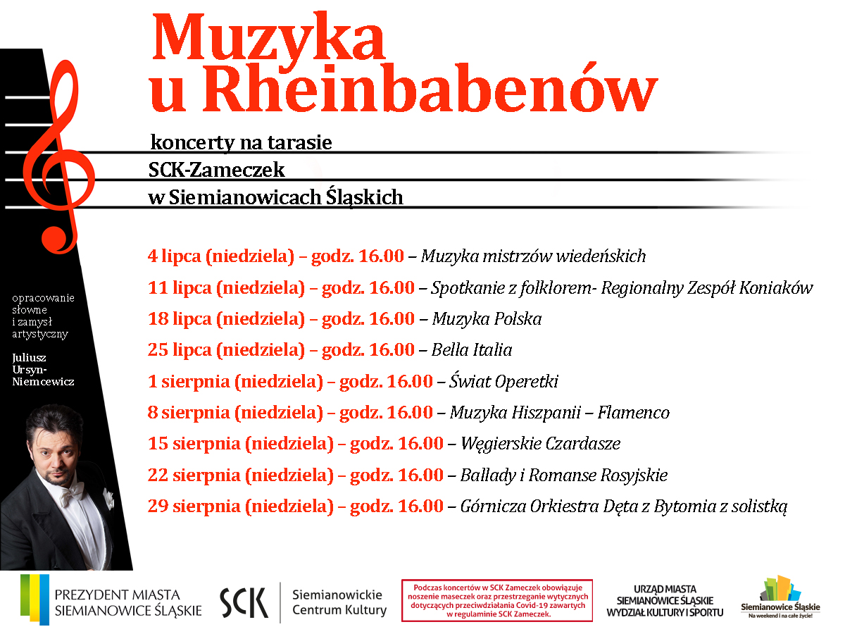 """Plakat z terminami koncertów w ramach cyklu """"Muzyka u Rheinbabenów"""""""