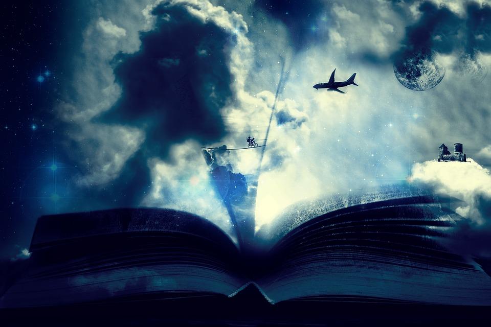 Wielka otwarta książka, nad nią samolot, chłopiec na rowerze, zamek na chmurze.